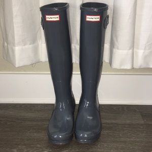 Hunter Boots Tall Glossy Grey